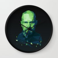 walter white Wall Clocks featuring Walter White by Dr.Söd