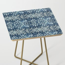 Vintage indigo inspired  flowers and lines Side Table