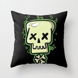 Toxic skull and crossbones green Throw Pillow