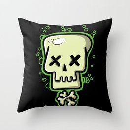 Toxic skull and crossbones green Throw Pillow
