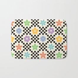 Retro Colorful Flower Double Checker Bath Mat