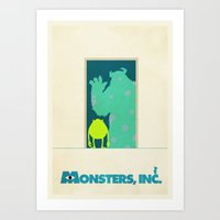 monsters inc Art Prints featuring Monsters Inc. by Mattias Fahlberg