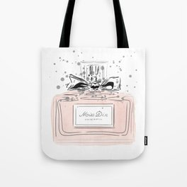 Perfume bottle with bow Tote Bag