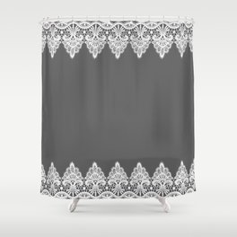 White Vintage Lace Gray Background Shower Curtain