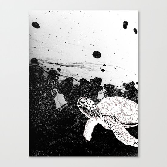 Sea Foam Sea Turtle (B/W) Canvas Print