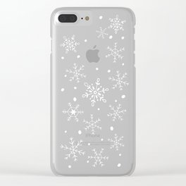 Snowflakes on Blue Wood Clear iPhone Case