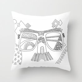 Glasses with moustache Throw Pillow