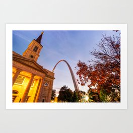 Autumn Sunrise - Downtown Saint Louis Gateway Arch and Old Cathedral Art Print