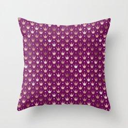Purple & Rose Gold Crown Pattern Throw Pillow