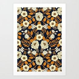 Navy Blue, Orange, Cream, Gold & White Floral Pattern Art Print
