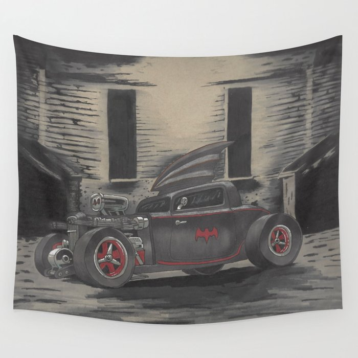 Hot Rod Batmobile  Wall Tapestry