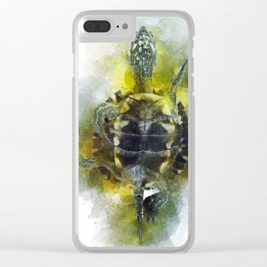 Watercolor Turtle Clear iPhone Case