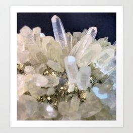 Clear Quartz growing with Pyrite Art Print