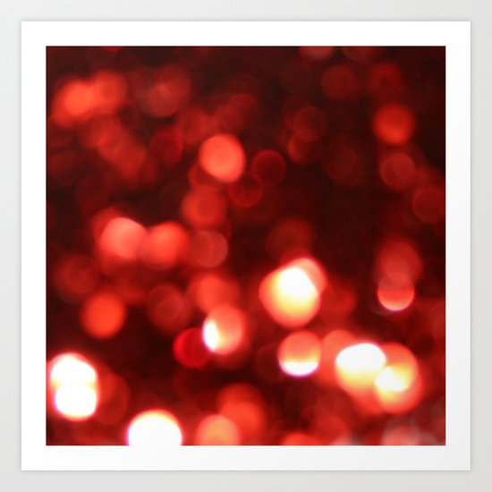 Red Blurred Lights Art Print