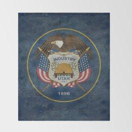 Utah State Flag, vintage retro style Throw Blanket