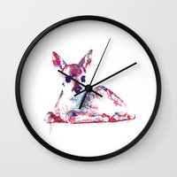 fawn Wall Clocks featuring Fawn by lauramaahs