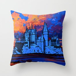 HOGWARTS CASTLE AT PAINTING Throw Pillow