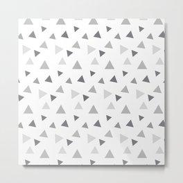 Modern geometrical pastel gray white triangles pattern Metal Print