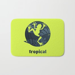 Tropical Frog Papercut Design Bath Mat