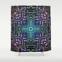 sci fi Shower Curtains featuring Sci Fi Metallic Shell by Phil Perkins