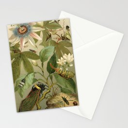 Vintage Passionflower and Cicada Natural History Illustration  Stationery Cards