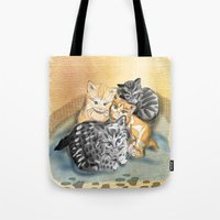kittens Tote Bags featuring Kittens by Michelle Behar