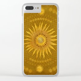 """Ocher Celestial Vault Mandala"" Clear iPhone Case"