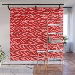 Scarlet Herringbone Lines Wall Mural