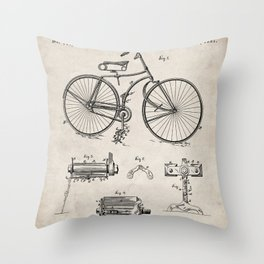 Bicycle Patent - Cyclling Art - Antique Throw Pillow
