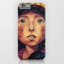 Bolivian Young Woman in the Andes Mountains Global Warming Street Art iPhone Case
