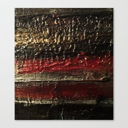 Bold Striped Black Red and Gold Textured Painting Canvas Print