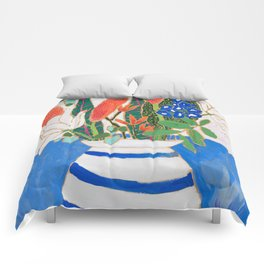 Nautical Striped Vase of Flowers Comforters