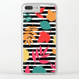 Colorful Autumn Leaves Pattern Clear iPhone Case