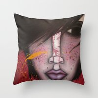 butcher billy Throw Pillows featuring BILLY by Sandra Mucciardi