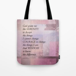 Serenity Prayer Abstract Landscape Pink Tote Bag