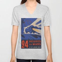 1955 Le Mans poster, vintage car poster, Le Mans poster, Unisex V-Neck