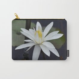 Water Lily White Carry-All Pouch