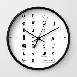 Typerfaces A-Z  Wall Clock