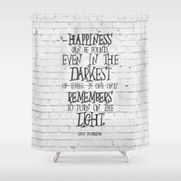dumbledore Shower Curtains featuring Albus Dumbledore Quote Inspirational by Go Art