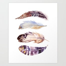 four feathers in neutrals Art Print