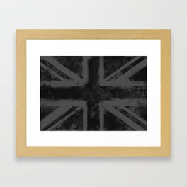 Black UK Flag Framed Art Print