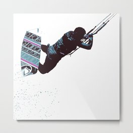 Kite And Surfboard Freestyle Silhouette Vector Metal Print