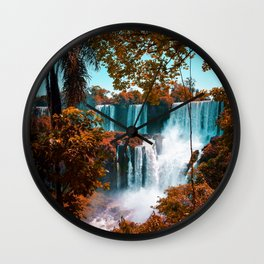 Paradise of Waterfalls (Color) Wall Clock