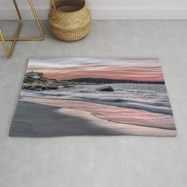 Pink Sunset on the beach Rug