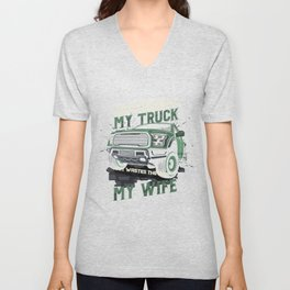 My Truck My Wife Dirt Track Racing Racer Auto Racing Race Cars Gifts Unisex V-Neck
