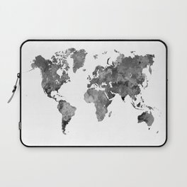 World map in watercolor gray Laptop Sleeve