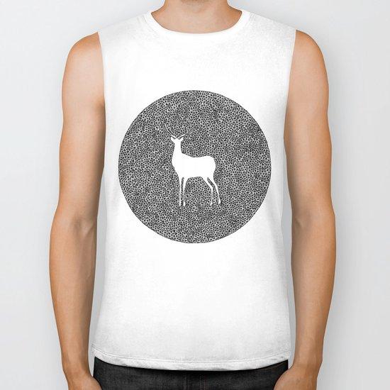 Deer Mandala 2 black-white Biker Tank