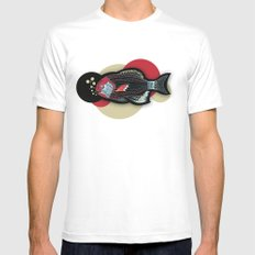 Happy New Fish  MEDIUM White Mens Fitted Tee