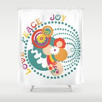 70s Shower Curtains featuring 70s Circle  by Louise Machado