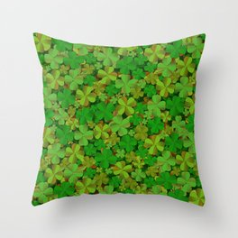 Lucky Clovers Throw Pillow